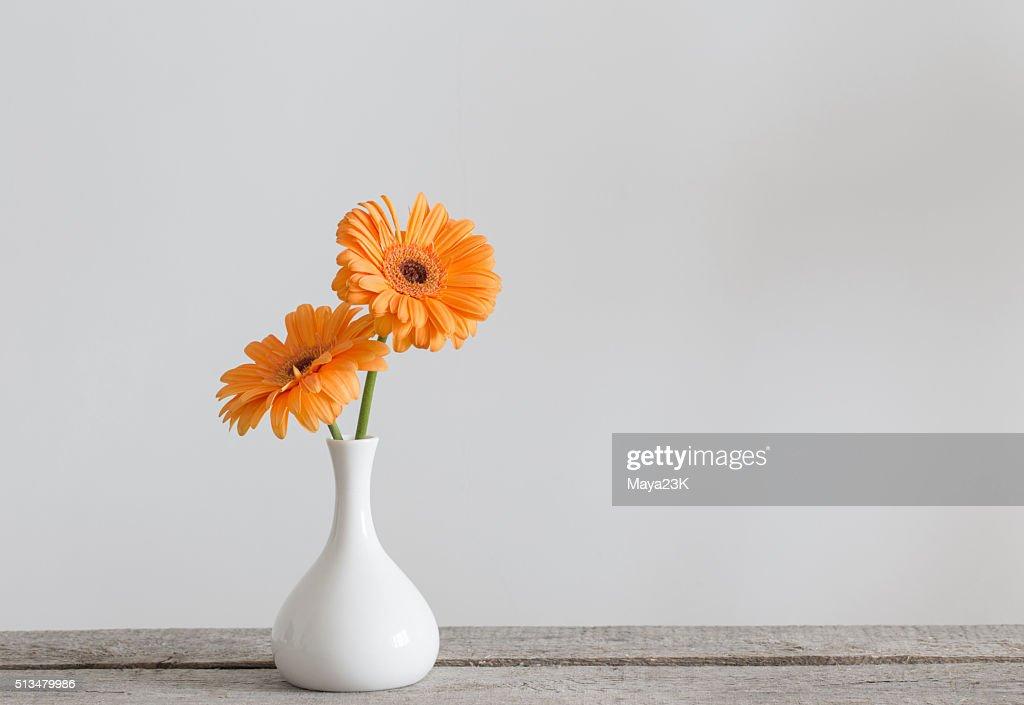Merveilleux Gerbera In Vase On Old Wooden Table ...