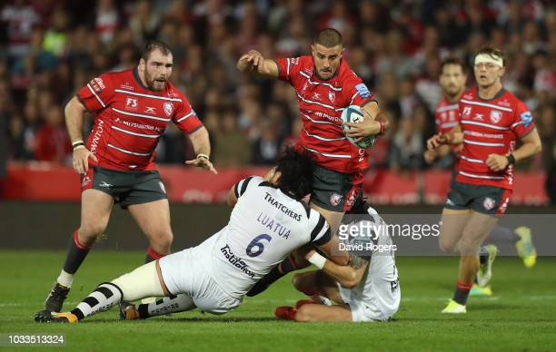 Gerbrandt Grobler of Gloucester is tackled during the Gallagher Premiership Rugby match between Gloucester Rugby and Bristol Bears at Kingsholm...