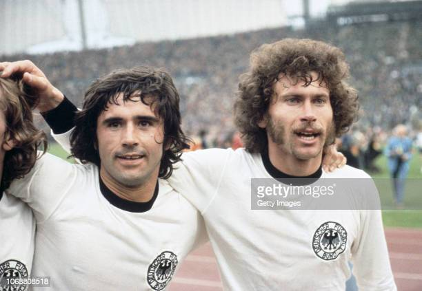 Gerd Müller and Paul Breitner celebrate after West Germany's 2-1 victory over Holland in the 1974 FIFA World Cup Final at the Olympic Stadium on July...