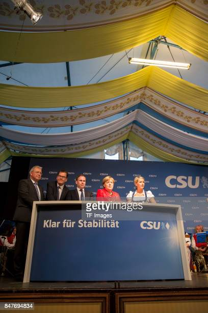 Gerd M¸ller Dr Volker Ullrich Dr Angela Merkell Claudia von Brauchitsch Dr Kurt Grib during an election campaign stop on September 12 2017 in...