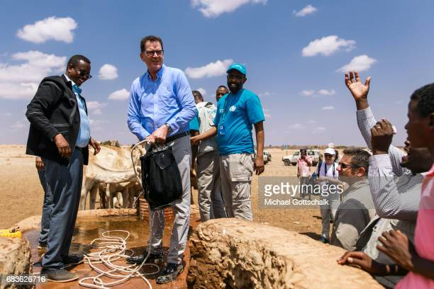 Gerd Mueller CSU Federal Minister for Development visits a village in the Somali region of Ethiopia where Pastorale settled because of the persistent...