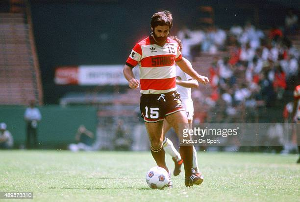 Gerd Mueller of the Fort Lauderdale Strikers dribbles the ball up field during an NASL Soccer game circa 1979 Mueller played for the Strikers from...
