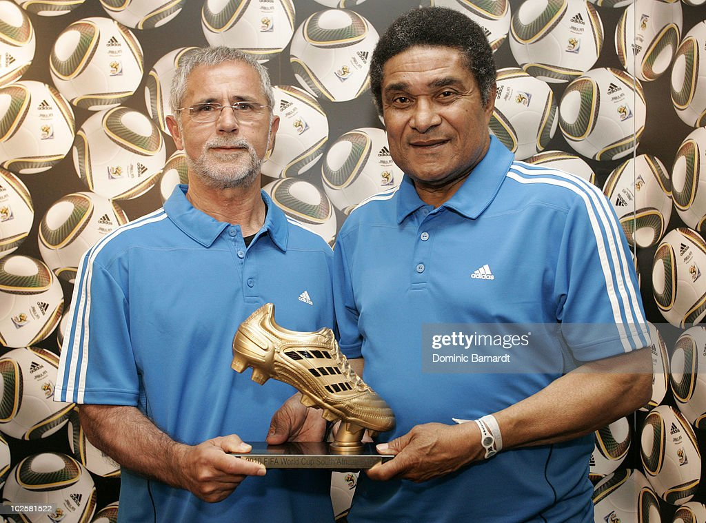 Gerd Muller and Eusebio Ferreira da Silva during a media event discussing the Golden Boot comptetition in the FIFA 2010 World Cup held at the adidas Jo'bulani Central in Sandton Convention Centre on July 1, 2010 in Johannesburg, South Africa.