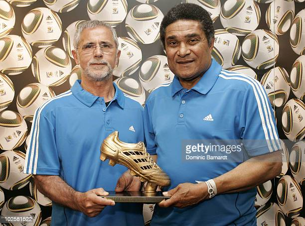 Gerd Muller and Eusebio Ferreira da Silva during a media event discussing the Golden Boot comptetition in the FIFA 2010 World Cup held at the adidas...