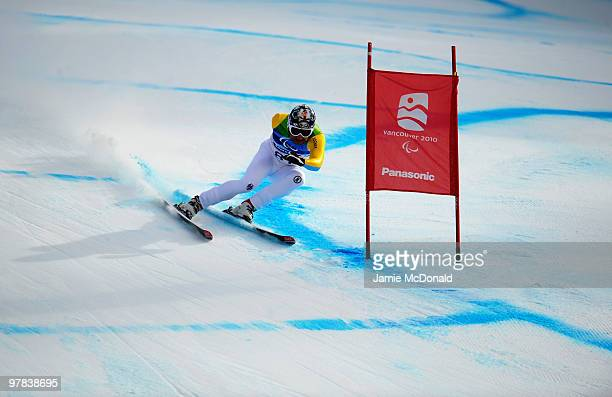 Gerd Schonfelder of Germany competes in the Men's Standing Downhill during Day 7 of the 2010 Vancouver Winter Paralympics at Whistler Creekside on...
