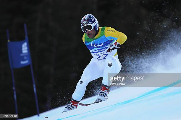 Gerd Schonfelder of Germany competes in the Men's Standing SuperG during Day 8 of the 2010 Vancouver Winter Paralympics at Whistler Creekside on...