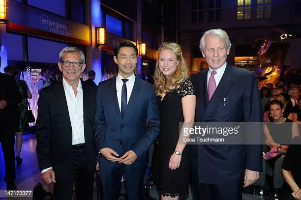 Gerd Strehle; Philipp Rosler; Katharina Graefin von Faber-Castell and Anton-Wolfgang von Faber-Castell attend 'Deutscher Gruenderpreis 2012' at...