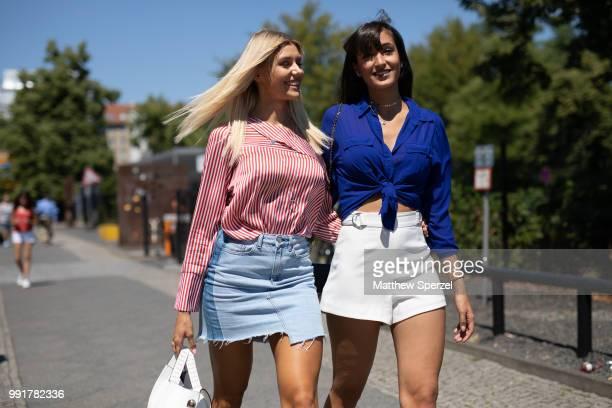 Gerda Lewis Sara Leutenegger are seen attending Rebekka Ruetz during the Berlin Fashion Week July 2018 on July 4 2018 in Berlin Germany