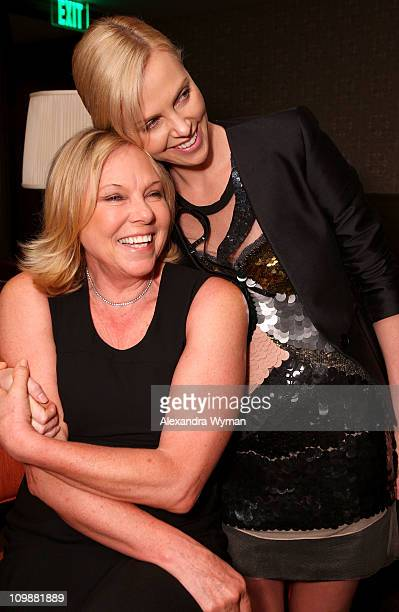 Gerda Theron and actress Charlize Theron attend Eve Ensler and V-Day celebrate the opening of City of Joy in the DRC held at Soho House on...