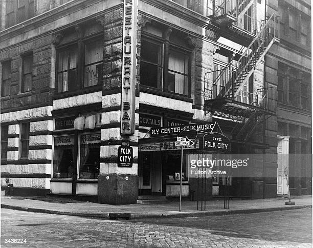 Exterior view of Gerde's Folk City nightclub and restaurant located on West 4th Street in Greenwich Village New York City