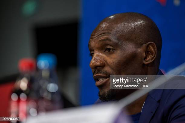 Geremi Njitap speaks to the media during AntiDiscrimination Diversity Panel at Luzhniki Stadium on July 11 2018 in Moscow Russia