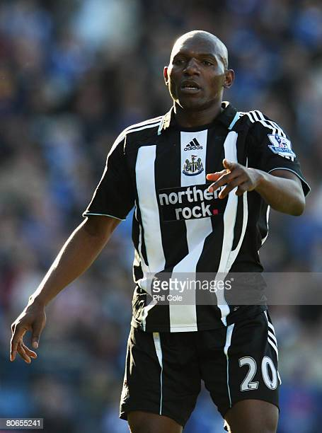 Geremi of Newcastle United gestures during the Barclays Premier League match between Portsmouth and Newcastle United at Fratton Park on April 12,...