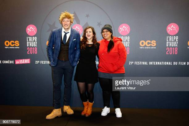 Geremy Gredeville Laura Domange and Melha attend Opening Ceremony during the 21st L'Alpe D'Huez Comedy Film Festival on January 16 2018 in Alpe...