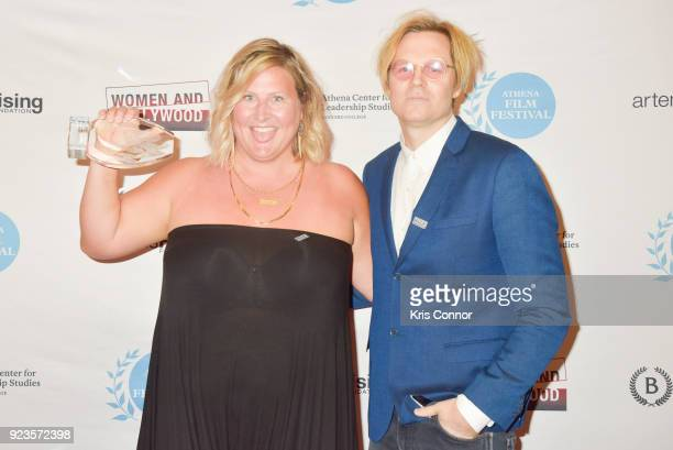 Geremy Jasper and Bridget Everett attends the 2018 Athena Film Festival Awards Ceremony at The Diana Center At Barnard College on February 23 2018 in...