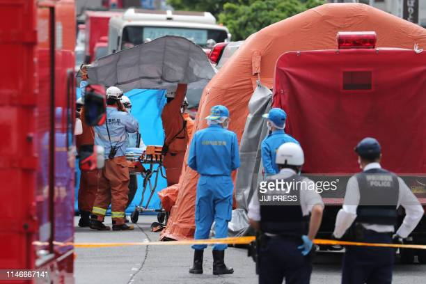A gerenal view shows a crime scene where a man stabbed 19 people including children in Kawasaki on May 28 2019 Two people including a child were...