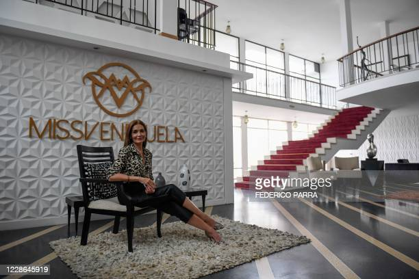 Gerente General of Miss Venezuela beauty pageant Ninia Sicilia poses after an interview at the Venevision television station in Caracas on September...