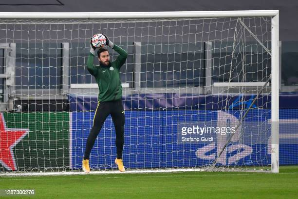 Gerg Szécsi of Ferencvárosi Budapest during of training session ahead of the UEFA Champions League Group G stage match between Ferencvaros Budapest...