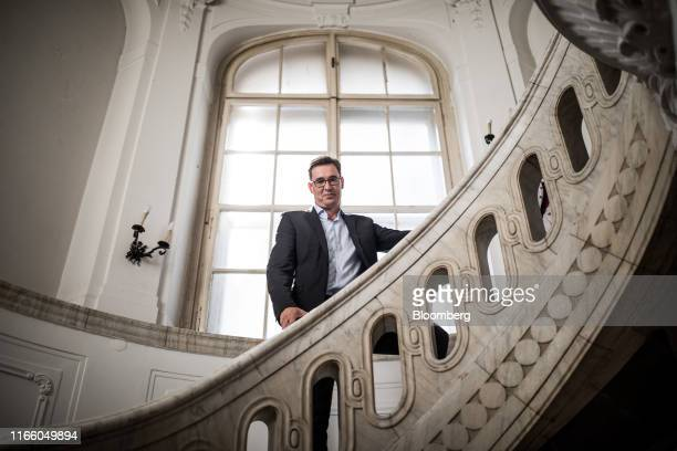 Gergely Karacsony, opposition candidate in the Budapest mayoral race, poses for a photograph in Budapest, Hungary, on Thursday, Aug. 29, 2019. While...
