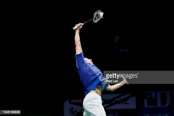 Gergely Krausz of Hungary competes in the Men's Singles first round match against Kanta Tsuneyama of Japan on day two of TOTAL BWF World...