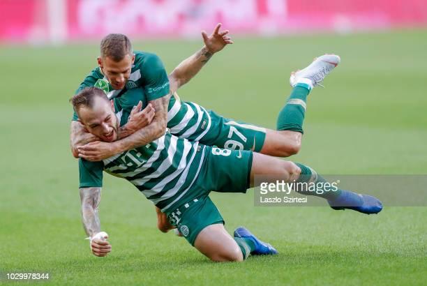Gergo Lovrencsics of Ferencvarosi TC celebrates his goal with Roland Varga of Ferencvarosi TC during the Hungarian OTP Bank Liga match between...