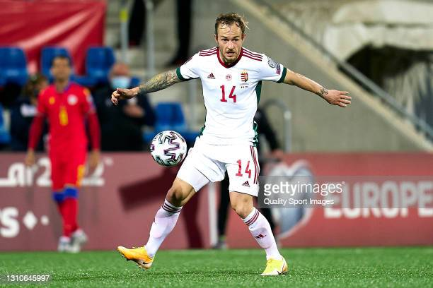 Gergo Lovrencsics of Hungary controls the ball during the FIFA World Cup 2022 Qatar qualifying Group I match between Andorra and Hungary on March 31,...