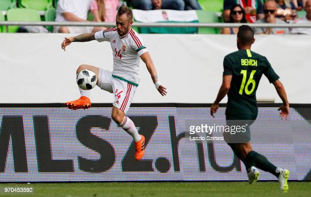 Gergo Lovrencsics of Hungary controls the ball next to Aziz Behich of Australia during the International Friendly match between Hungary and Australia...