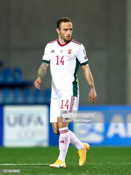 Gergo Lovrencsics of Hungary looks on during the FIFA World Cup 2022 Qatar qualifying Group I match between Andorra and Hungary on March 31, at...
