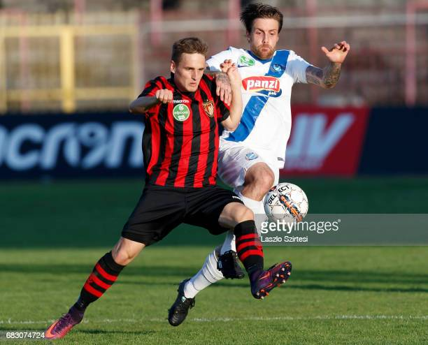 Gergo Nagy of Budapest Honved battles for the ball with Adam Vass of MTK Budapest during the Hungarian OTP Bank Liga match between Budapest Honved...