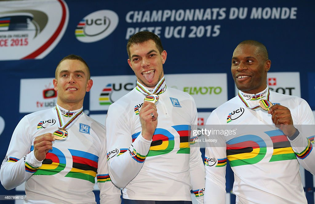Gergory Bauge, Michael D'Almeida and Kevin Sireau of France pose on the podium after winning gold in the Men's Team Sprint Final during day one of the UCI Track Cycling World Championships at the National Velodrome on February 18, 2015 in Paris, France.