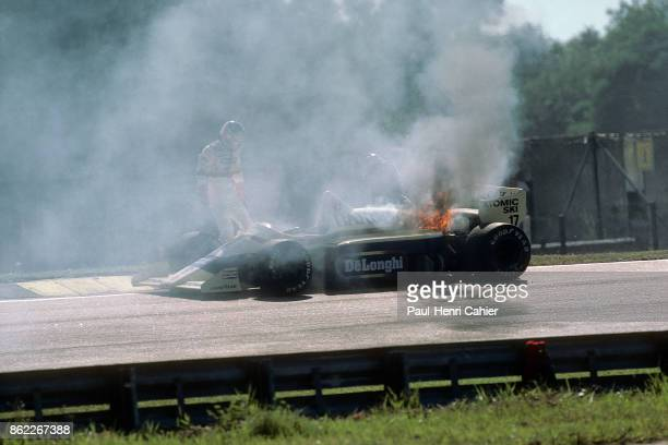 Gerhard Berger ArrowsBMW A8 Grand Prix of Brazil Interlagos 07 April 1985 Blown turbo and fire for Gerhard Berger's BMW engine