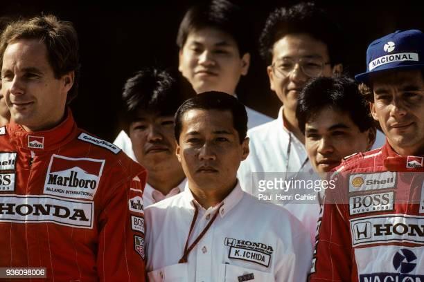 Gerhard Berger Ayrton Senna Grand Prix of Japan Suzuka Circuit 25 October 1992 Gerhad Berger and Ayrton Senna with the Honda engineers in Suzuka 1992