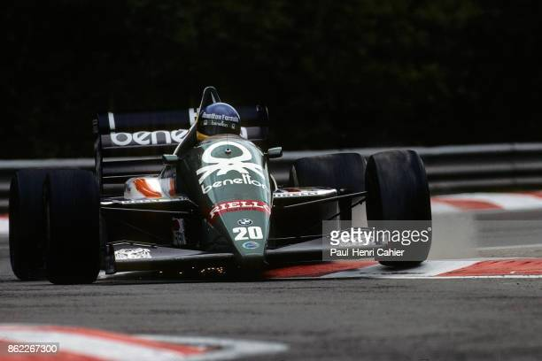 Gerhard Berger BenettonBMW B186 Grand Prix of Belgium Circuit de SpaFrancorchamps 25 May 1986 Gerhard Berger racing through the Bus Stop chicane at...