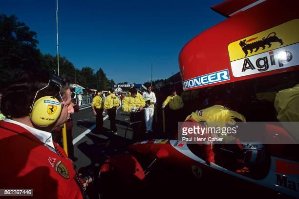 Gerhard Berger Jean Todt Ferrari 412T2 Grand Prix of Belgium Circuit de SpaFrancorchamps 27 August 1995 Ferrari team manager Jean Todt watches as...