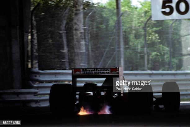 Gerhard Berger McLarenHonda MP4/7A Grand Prix of Canada Circuit Gilles Villeneuve 14 June 1992 Gerhard Berger's V12 Honda engine spitting flames