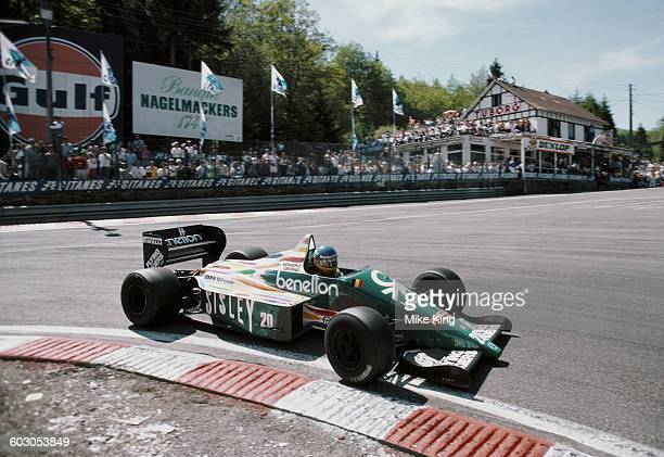 Gerhard Berger of Austria drives the Benetton Formula Benetton B186 BMW M12 turbo during the Belgian Grand Prix on 25 May 1986 at the...
