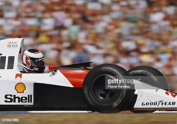 Gerhard Berger of Austria drives the Honda Marlboro McLaren McLaren MP4/5B Honda RA109E V10 during the Mobil 1 German Grand Prix on 29 July 1990 at...