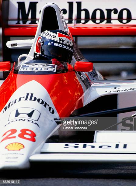 Gerhard Berger of Austria drives the Honda Marlboro McLaren McLaren MP4/5B Honda RA109E V10 during practice for the Grand Prix of Monaco on 27 May...