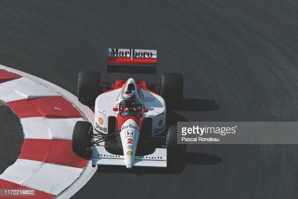 Gerhard Berger of Austria drives the Honda Marlboro McLaren MP4-6 Honda V12 during practice for the French Grand Prix on 6th July 1991 at the Circuit...