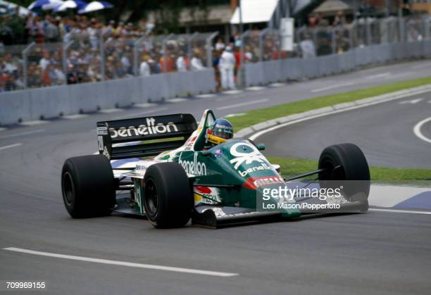 Gerhard Berger of Austria, driving a Benetton B186 with a BMW M12/13 1.5 L4t engine for Benetton Formula Ltd, enroute to placing sixth during the...