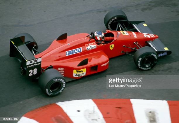 Gerhard Berger of Austria driving a Ferrari F1/87/88C with a Ferrari 033E 15 V6t engine for Scuderia Ferrari SpA SEFAC enroute to placing second...