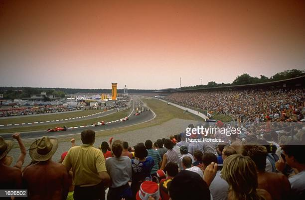 Gerhard Berger of Austria takes the lead in his Scuderia Ferrari during the West German Grand Prix at the Hockenheim circuit in West Germany Berger...