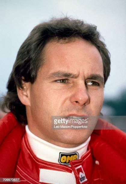 Gerhard Berger of Austria who placed fifth driving a Ferrari 640 with a Ferrari 035/5 35 V12 engine for Scuderia Ferrari SpA SEFAC during the San...