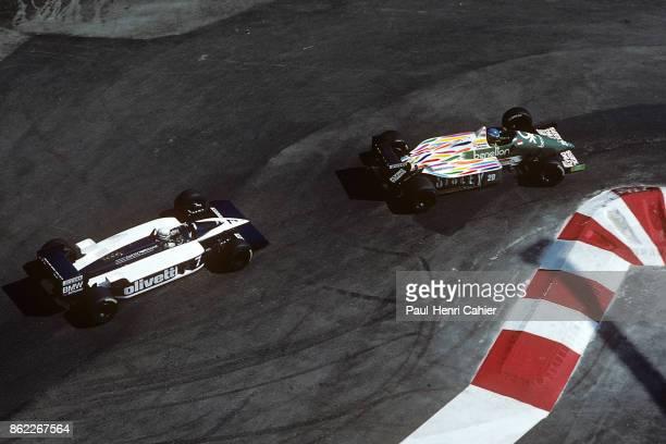 Gerhard Berger, Riccardo Patrese, Benetton-BMW B186, Brabham-BMW BT55, Grand Prix of Monaco, Circuit de Monaco, 11 May 1986.