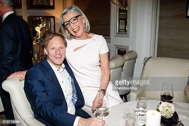 Gerhard Delling and Almuth Wehmeyer attend the Soiree Hotel Vier Jahreszeiten on March 01 2016 in Hamburg Germany
