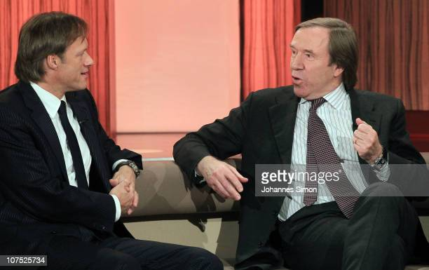 Gerhard Delling and Guenter Netzer attend the 'Menschen 2010' TV Show on December 10 2010 in Munich Germany