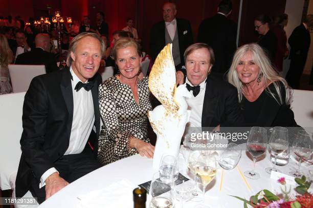 Gerhard Delling and his girlfriend Vicki Hinrichs Guenter Netzer Elvira Netzer and Pegasos Award during the German Sports Media Ball at Alte Oper on...