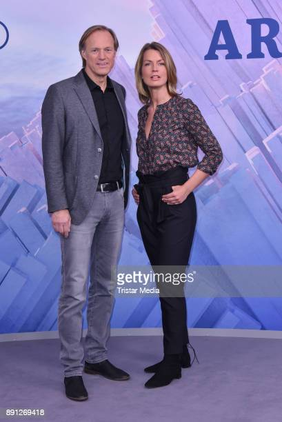 Gerhard Delling and Jessy Wellmer during the Olympia Press Conference on December 12 2017 in Berlin Germany