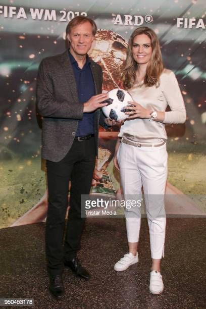 Gerhard Delling and Julia Scharf during the TV programs ARD and ZDF present their team for the 2018 FIFA World Championship in Russia on April 23...