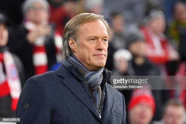 Gerhard Delling looks on prior to the DFB Cup match between Bayern Muenchen and Borussia Dortmund at Allianz Arena on December 20 2017 in Munich...