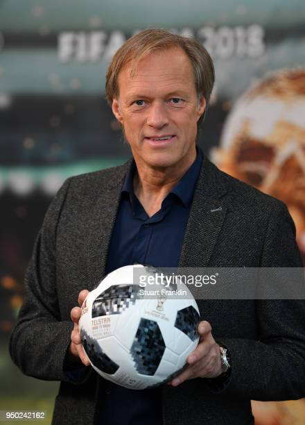 Gerhard Delling poses for a picture during the ARD and ZDF FIFA World Cup presenter team presentation on April 23 2018 in Hamburg Germany